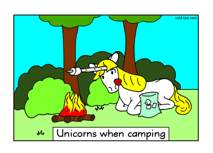 Comic unicorn camping marshmallow fire
