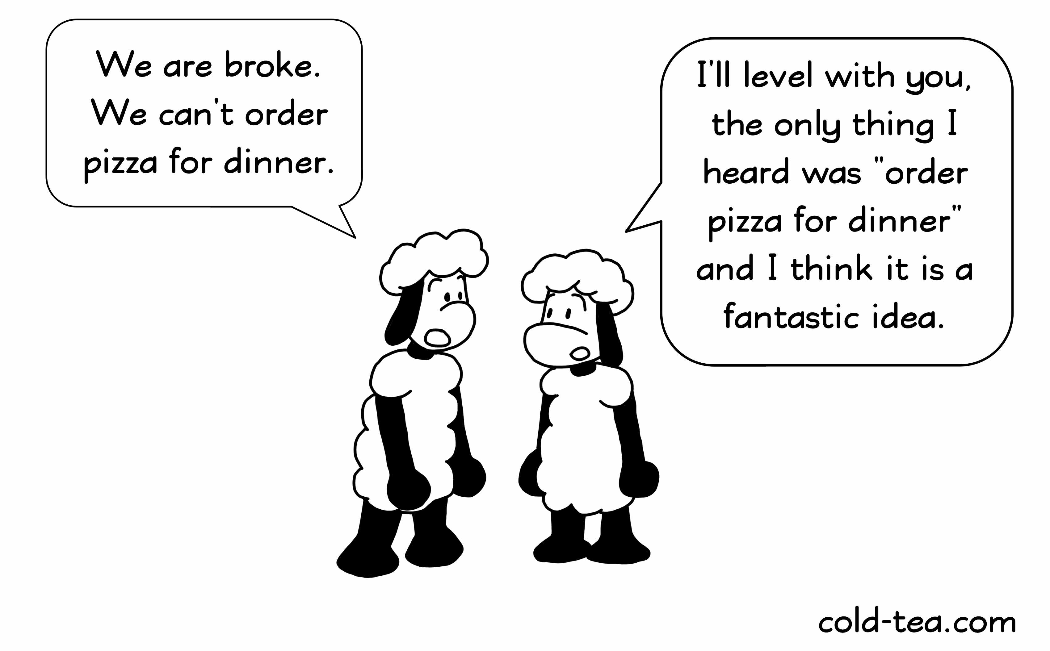 Ordering pizza sheep comic