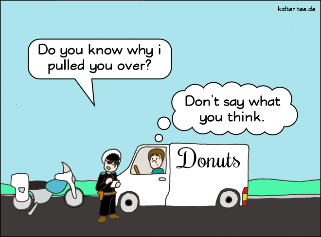 Comic police control donuts